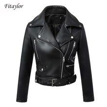Fitaylor preto do falso jaqueta de couro das mulheres primavera outono curto macio couro do plutônio jaquetas com cinto zíper moto motociclista casaco
