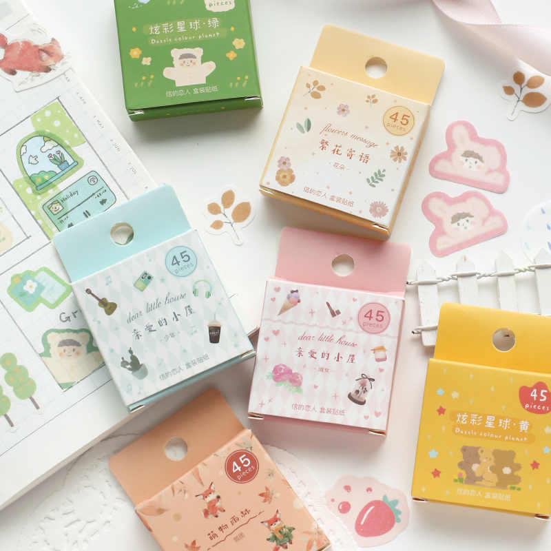 45pcs/box Colorful Planet Series Bullet Journal Decorative Stationery mini Stickers set Scrapbooking DIY Diary Album Stick Lable