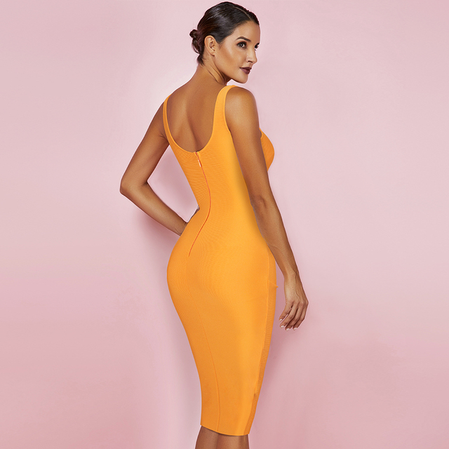 New Kendall Jenner Celebrity Bandage Dress Women Draped Orange Midi Bandage Dress Bodycon Sexy Evening Party Dress 2