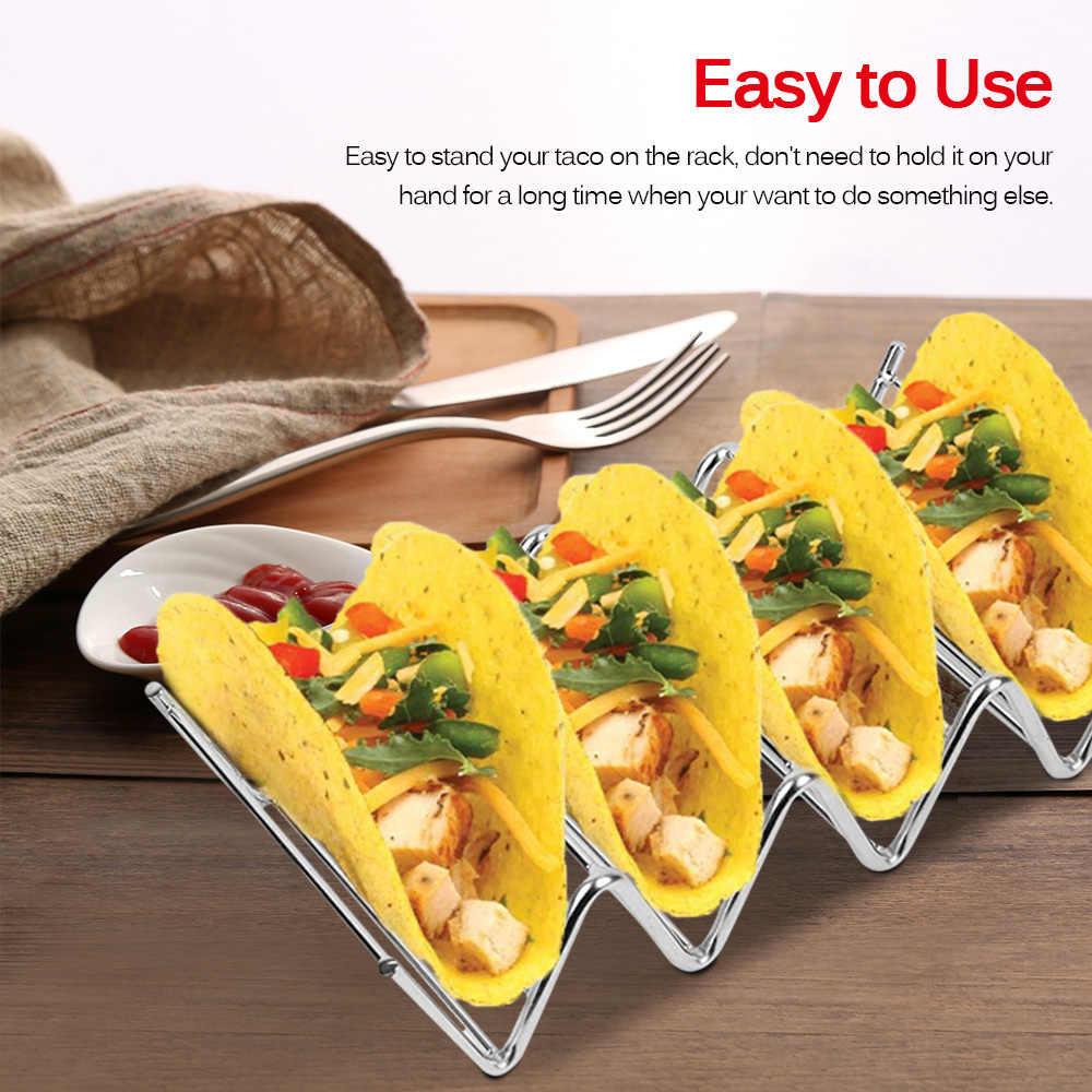bandejas de acero inoxidable Soporte para tacos restaurantes en casa al aire libre soporte para tacos para hornear para horno suave o duro