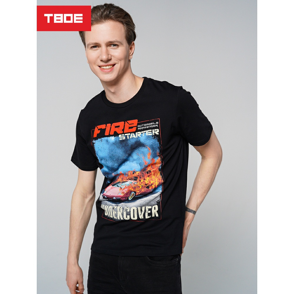 T-shirt with short sleeves, black, 100% Cotton