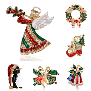 2021 Xmas Gifts Crystal Red Shoe Boot Bells Christmas Brooch Pins Women Lovely Angel Brooches Party Corsage Clothing Accessories
