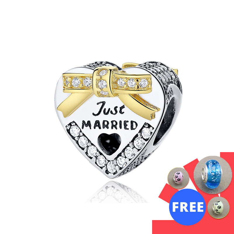 Fit Original European Charm Bracelet 100% 925 Sterling Silver Just Married Wedding Heart Shaped Beads Charms Jewelry Love gift