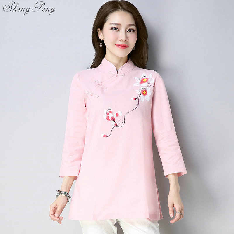 Dames Chinese Tops Blouses Chinese Traditionele Top Borduren 3/4 Mouwen Cheongsam Stijl Shirt Vrouwen Qipao Top Etnische V1809