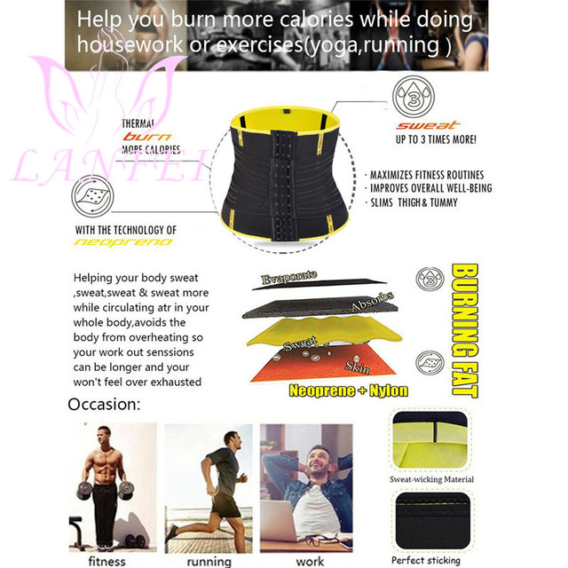 LANFEI Hot Neoprene Waist Trainer Trimmer Belt Body Shaper Sweat Slimming Belt Tummy Control Sport Gym Corset Fat Burner Girdle 2