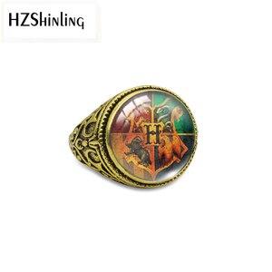 Hzshinling Новое поступление античные Регулируемые кольца Хогвартс Школа Мода четыре школы змея Львы Круглый купол стеклянный кольца