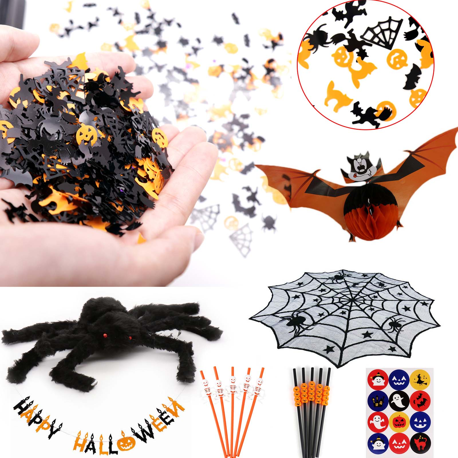 15g Spooky Halloween Confetti Pumpkin Spider Web Witch Bat Throw Confetti Sprinkle Home Festival Party Supplies Table Decoration