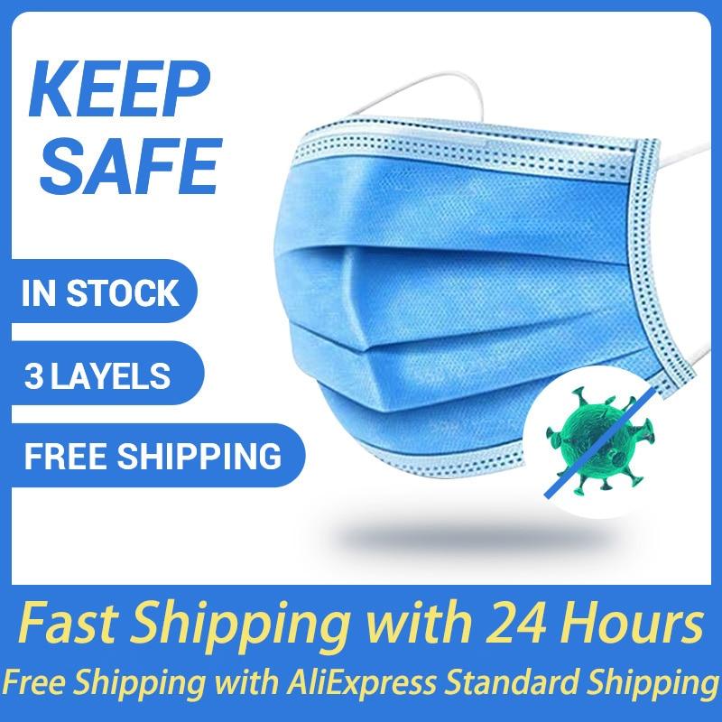 50Pcs Disposable Mask 3-Layer Filter Safe Breathable Fabrics Face Mouth Mascarillas Non-woven Reusable Respirator Earloop Mask