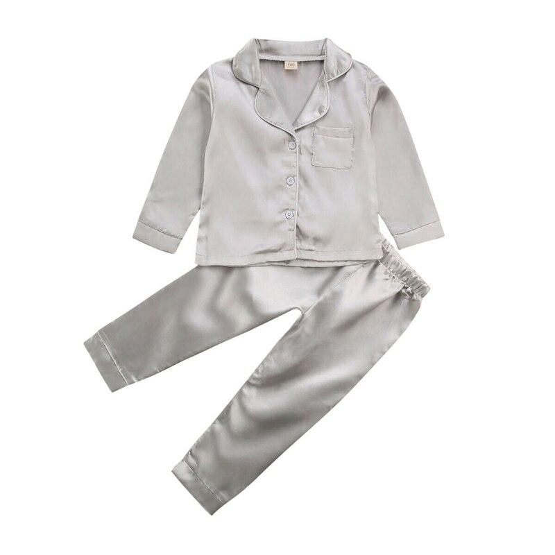 Baby Kid Girls Satin Pajama Set Long Sleeve Button Down Sleepwear 2PCS Lovely Girls Sleep Wear