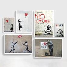 Абстрактная девушка, Настенная картина, холст, картина Bansky, фотообои черного и белого цвета для декора гостиной