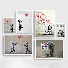 Абстрактная девушка wall art Холст Картины bansky художественные