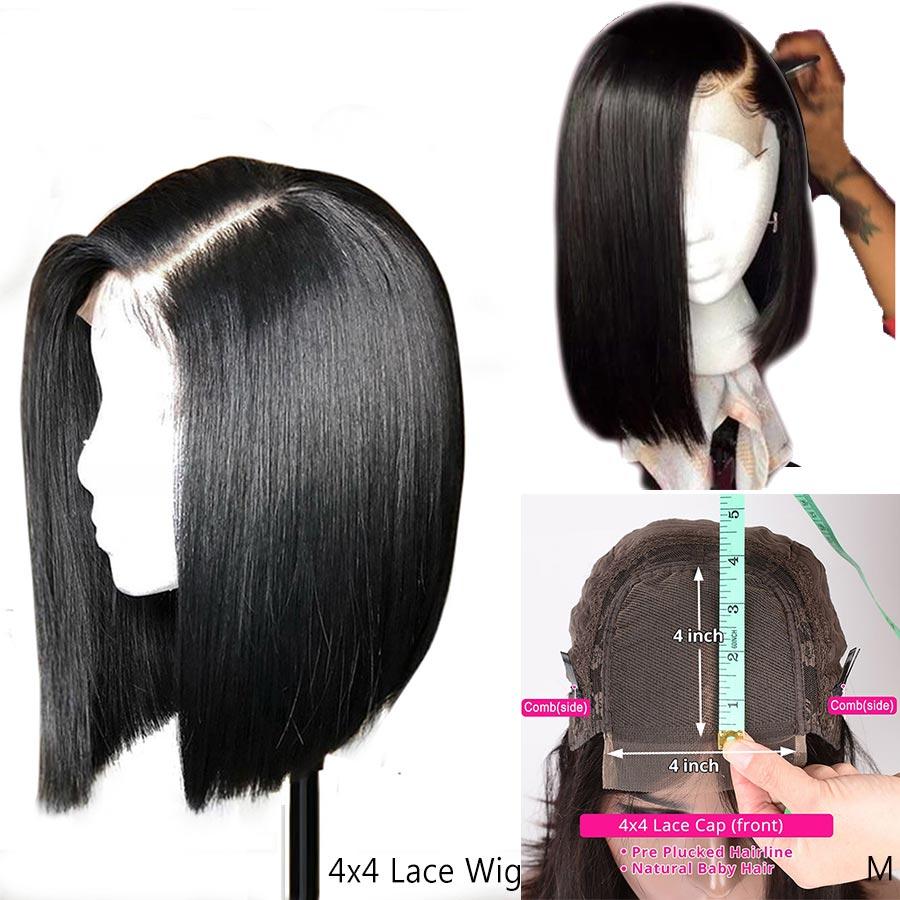 4x4 Remy Bob court fermeture perruques sans colle pour les femmes noires fermeture à lacet perruque de cheveux humains droite brésilienne cheveux avec bébé cheveux 150%