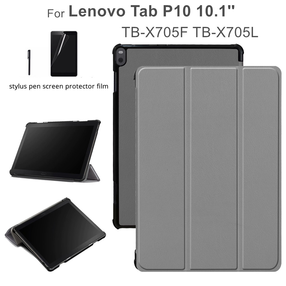 Leather Cover for <font><b>Lenovo</b></font> Tab P10 <font><b>TB</b></font>-X705F <font><b>TB</b></font>-<font><b>X705L</b></font> 10.1'' Slim Stand Folding Funda <font><b>Cases</b></font> for <font><b>lenovo</b></font> tab p10 <font><b>case</b></font> +gift image