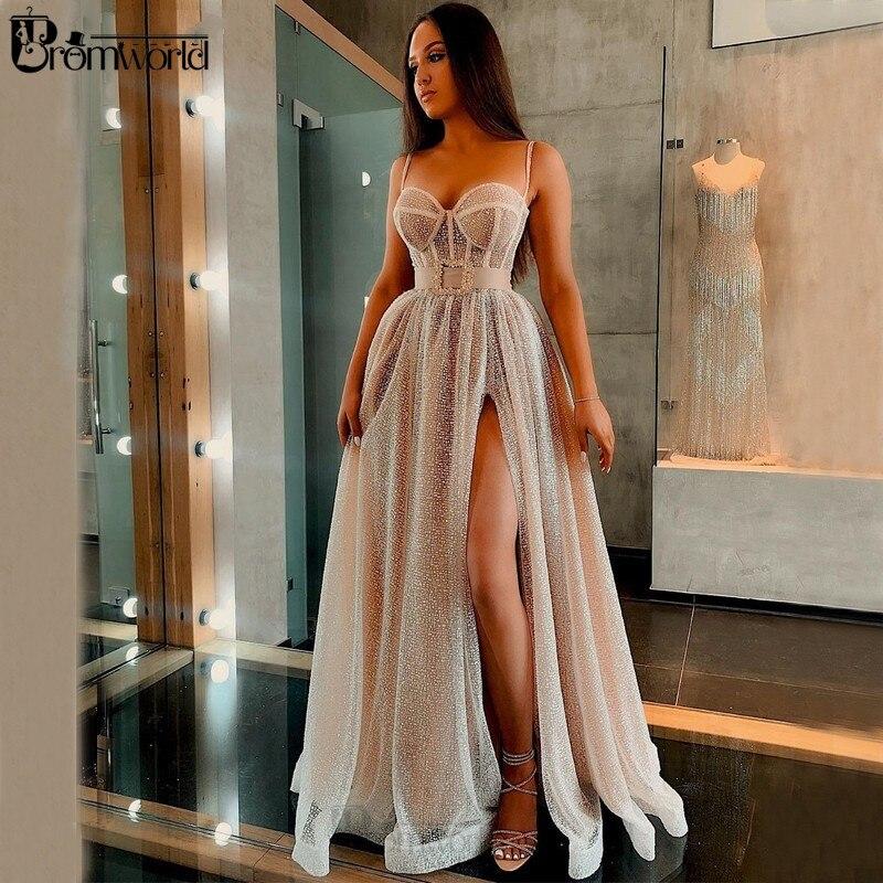 Cintilante lantejoulas vestidos de noite longo a linha querida cinta de espaguete sexy split champagne vestido de baile 2020 formal vestidos de festa