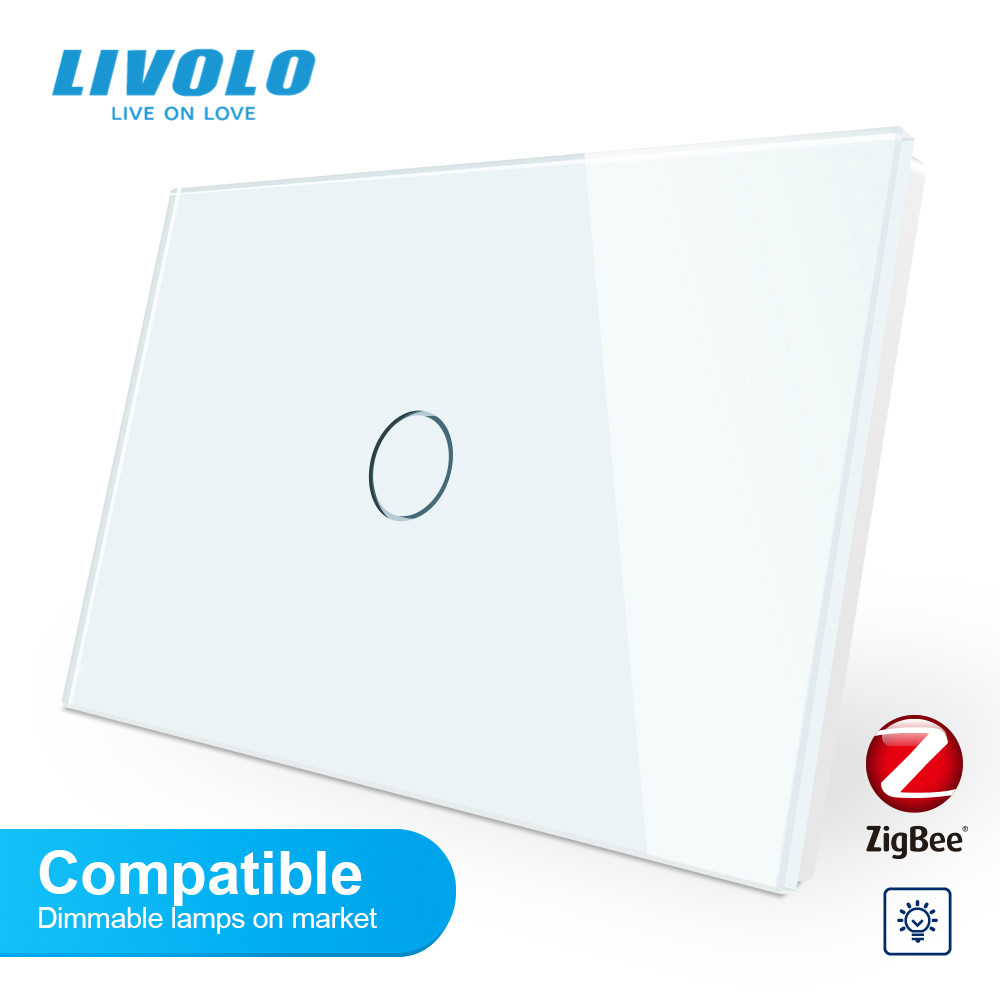 Livolo ZigBee smart wifi adaptive dimmer wall light switch,crystal Glass Panel,Compatible dimmable lamps,dim light up down