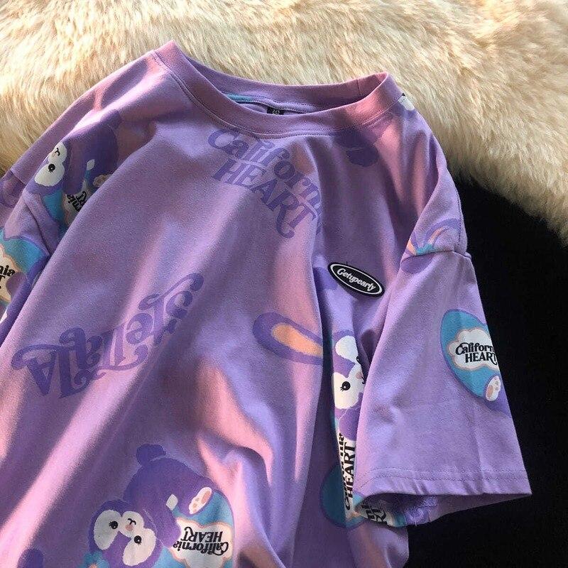 Летняя футболка с рисунком Топ Женская футболка на каждый день в японском стиле милый студенческий стиль новые свободные все-матч сверху, д...
