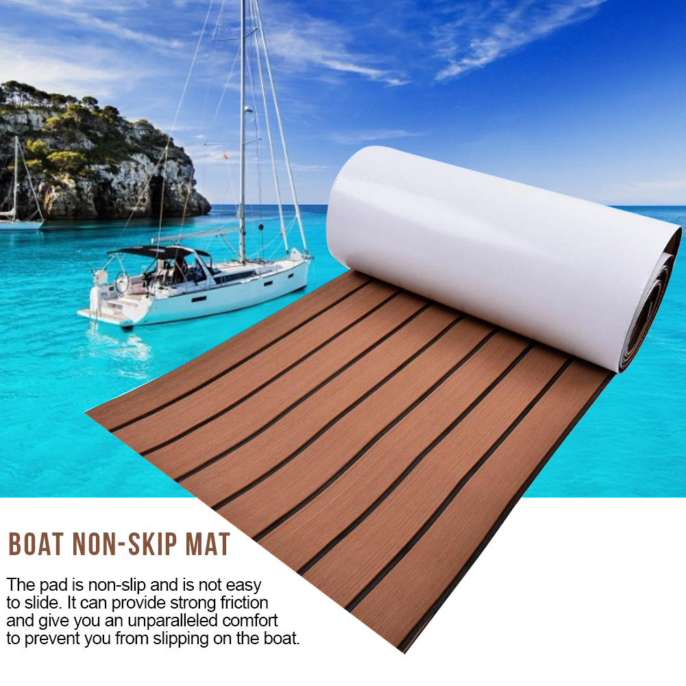 EVA Non-slip Mat Upgraded Boat Teak Decking Sheet Yacht Marine Flooring Non-slip Carpet Mat Light Brown In Black Accessories