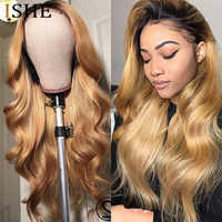 Honey Blonde Body Wave Lace Front Wig 360 Lace Frontal Wig Pre Plucked With Baby Hair Ombre Human Hair Wig Remy Hair For Women