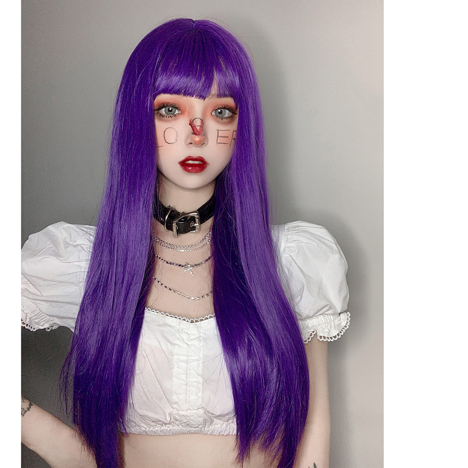 Lolita Cosplay Purple Long Straight Hair Fiber High Temperature Resistant Synthetic Wig Cute Vitality Girl Cool Girl