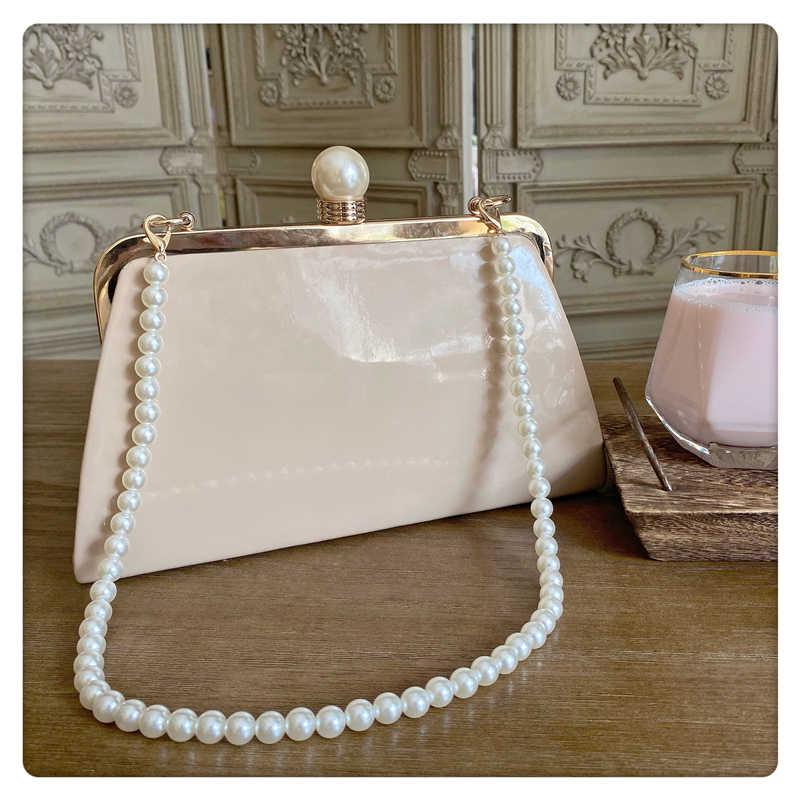 Weibliche Luxus Frauen Einzelnen Schulter Crossbody-tasche 2019 Herbst Marke Designer Paket Patent Leder Handtasche Perle clip tasche