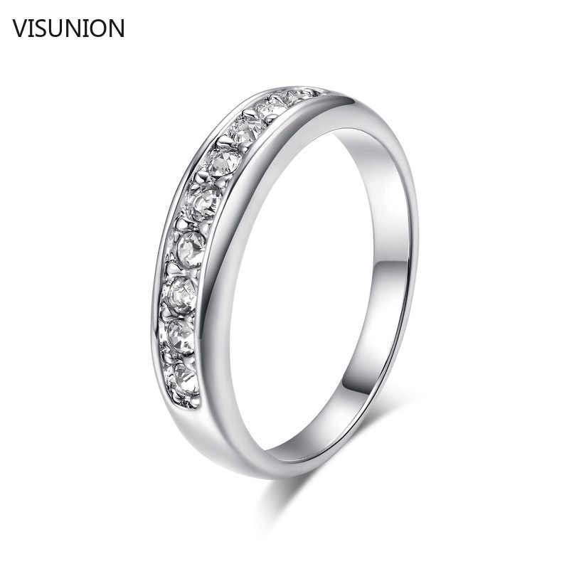 Temperament Gold Silver Crystal Cubic Zirconia Rings Korean Elegant Cross Heart Four Claws Rhinstone Finger Jewelry For Women