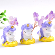 1PC Unicorn Natural Amethyst Gemstone Gravel DIY Handmade Figurine Healing Stone Collection and Home Decor Crafts Ornaments Gift