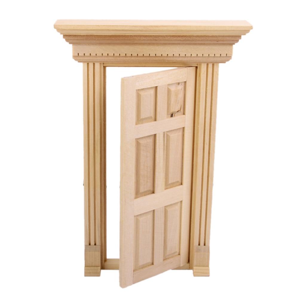Mini Exterior Wooden Door w// 6-Panel 1//12 Dollhouse DIY Furniture Accessory