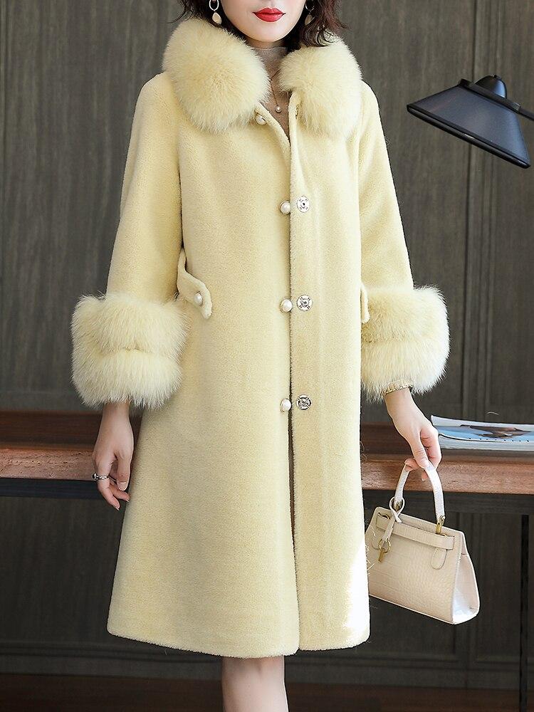 Coat Fur Real Female Sheep Shearling Jacket Winter Coat Women Fox Fur Collar 100% Wool Coat Korean Long Jackets MY4554 S