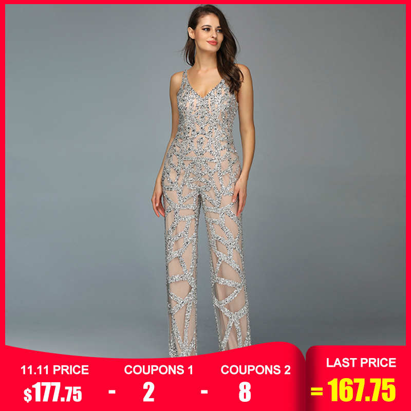 Silver Nude V-Neck Jumpsuit Luxury Evening Dresses 2019 Sleeveless Sequined Sexy Evening Gowns Serene Hill LA60985