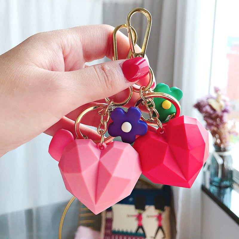 2019 New Cartoon 3D Geometric Love Heart Key chain for Women Pendant PVC Chain Female Flower Keyring Jewelry Gift