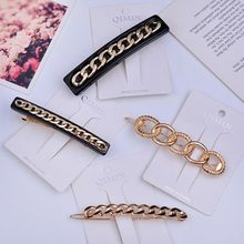 Europe And The United States Chain Gold Hairpin Hairpin Female Bangs Clip Word Clip Adult Net Red Hair Jewelry Side Clip(China)