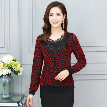 Spring Woman Black Lace Collar Design Blouse Red Golden Printing Sequined Top Chic Classy Elastic Cuff Hem Blouses Women New