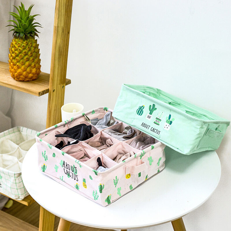 9 Cells Cactus Underwears Socks Bras Organizer Prints Cloth Storage Box Portable Folding Storage Container Organizer Accessories|Drawer Organizers| |  - title=