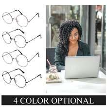 Круглые очки с прозрачными линзами в металлической оправе