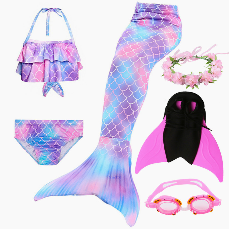 6PCS High Quality  Children Ariel The Little Mermaid Tail With Monofin Bikini Bathing Suit Costume Swimmable  Kids Swimsuit