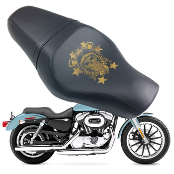 For Harley Sportster XL883 N XL1200 N Iron 48 72 Black Skull Motorbike Driver Rear Passenger Tour Seat Saddle Cushions 2 up