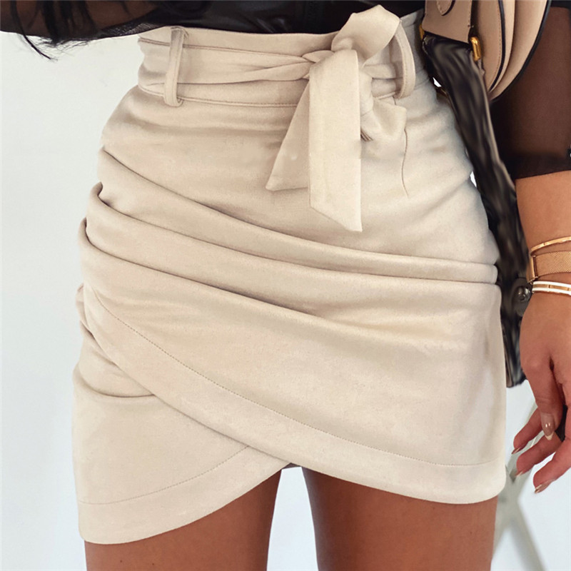 Women Bodycon Sexy Mini Skirts Fashion Sexy OL Summer Spring Suede Leather High Waist Bandage Belted Cross Pencil Skirt Clothes