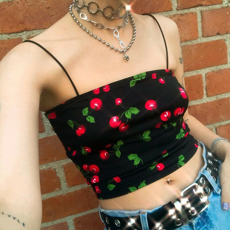 <font><b>Sexy</b></font> Cherry Print <font><b>Crop</b></font> <font><b>Tops</b></font> Women 2019 Wireless Bralette <font><b>Crochet</b></font> <font><b>Top</b></font> Female Spaghetti Strap Cropped With Chest Padded Camisole image