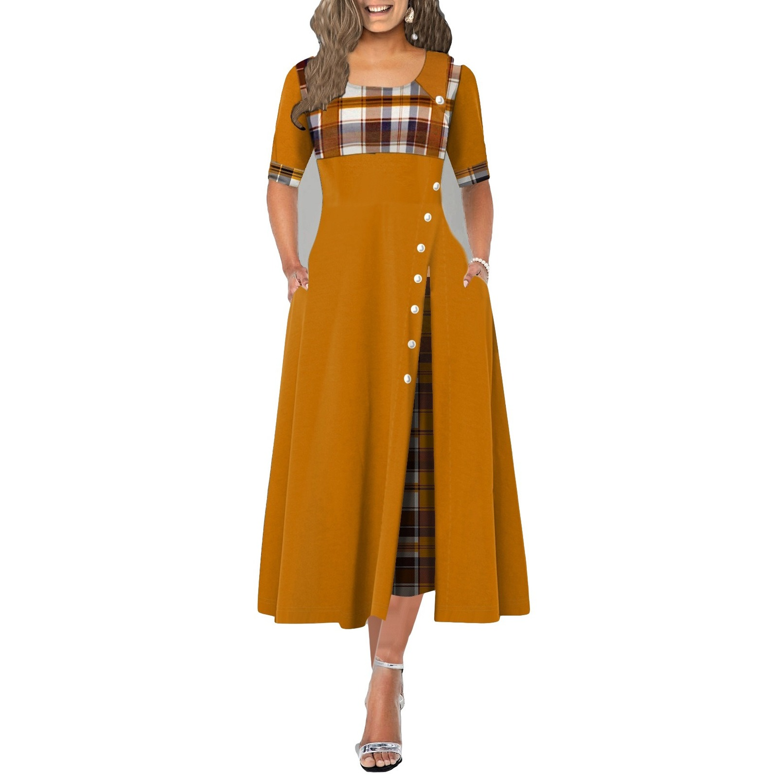 Round Neck Contrast Sleeve Irregular Long Dress for Ladies Girls Woman Cloth with Plaid and Button Decoration