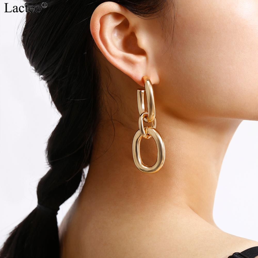Lacteo Exaggerated Thick Chunky Chain Dangle Earrings For Women Punk Hip Hop Nightclub Charm Earrings Jewelry Female Gifts