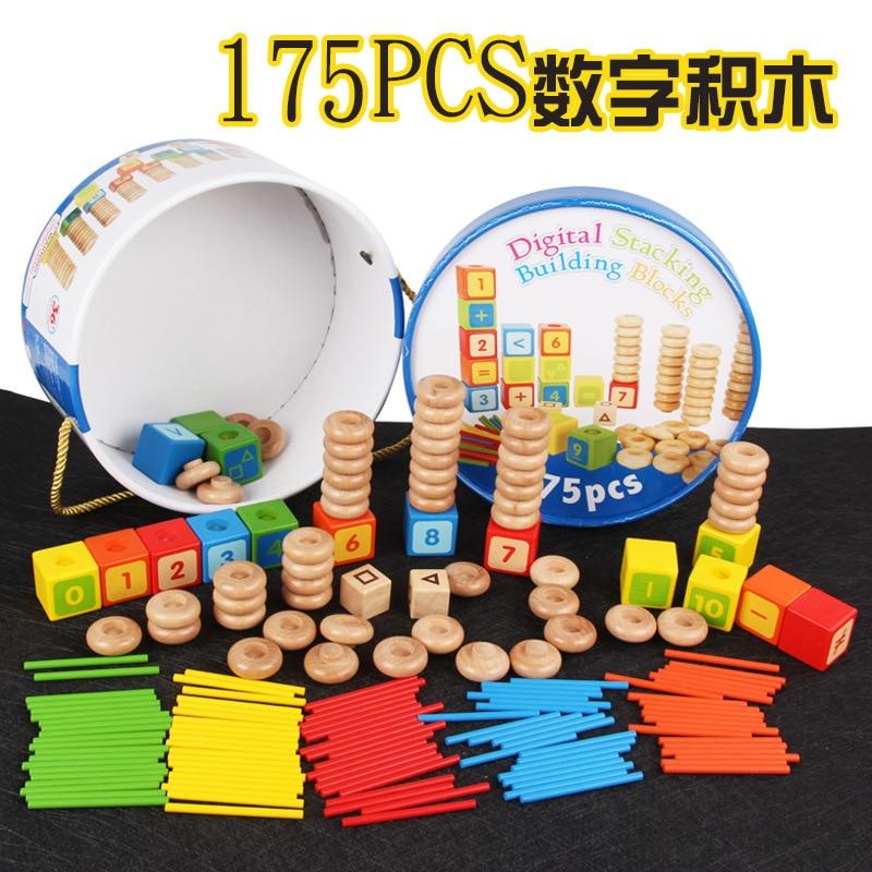 Enfants en bois 175 IQ numérique empilé bloc numéro tige éducation préscolaire maternelle noël jouets pour les filles