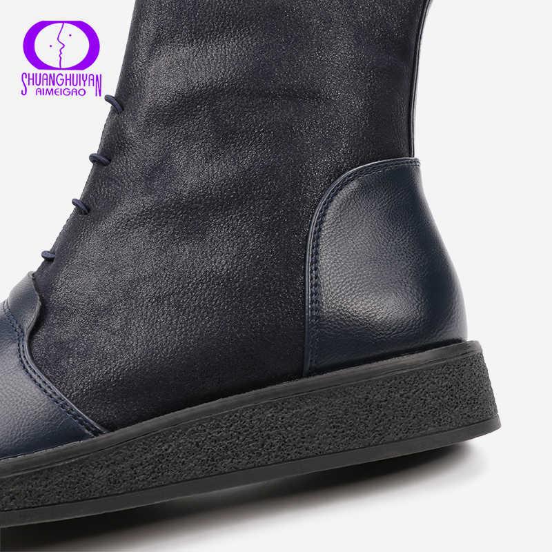 AIMEIGAO Nieuwe Herfst Vrouwen Enkellaarsjes Platform Flats Vrouwen Lace Up Casual Laarzen Mode Zachte Lederen Big Size Laarzen Voor vrouwen