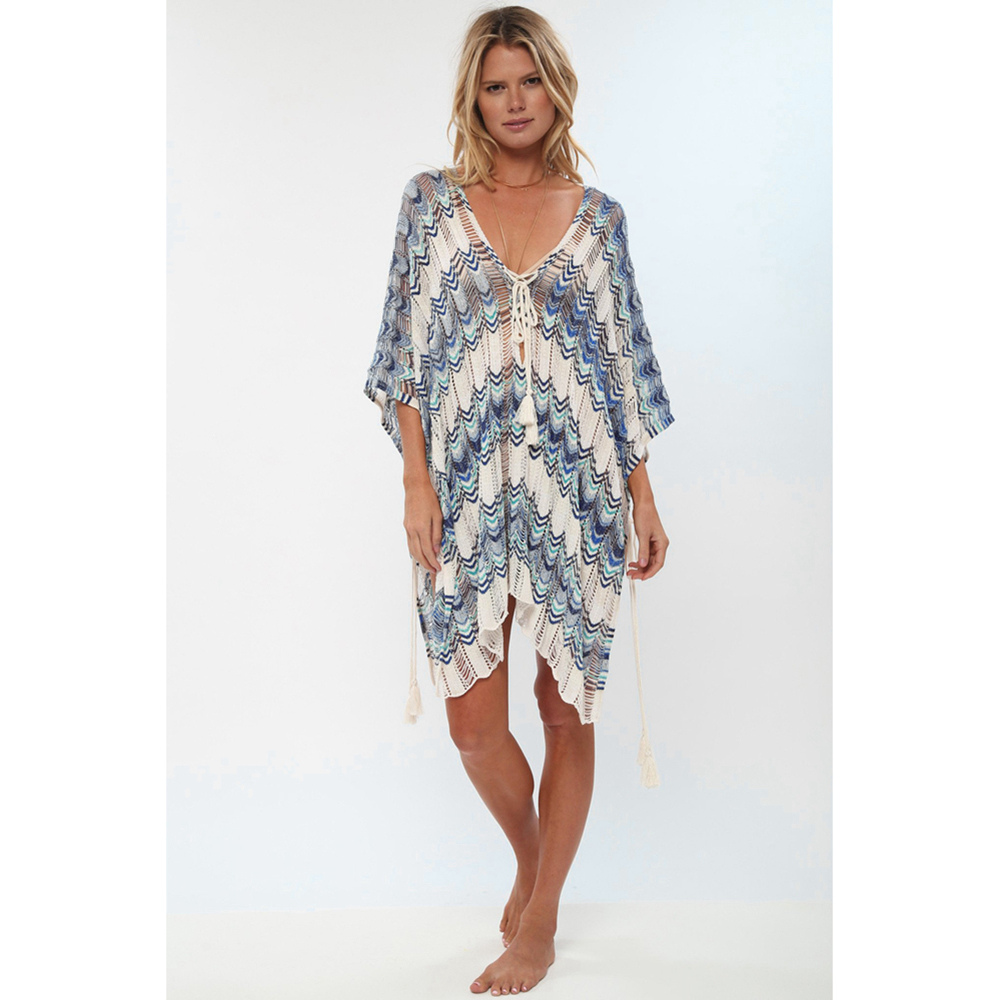 Sexy Beach Tunic Deep V Mesh Mini Dresses Knitted Cover Up 6