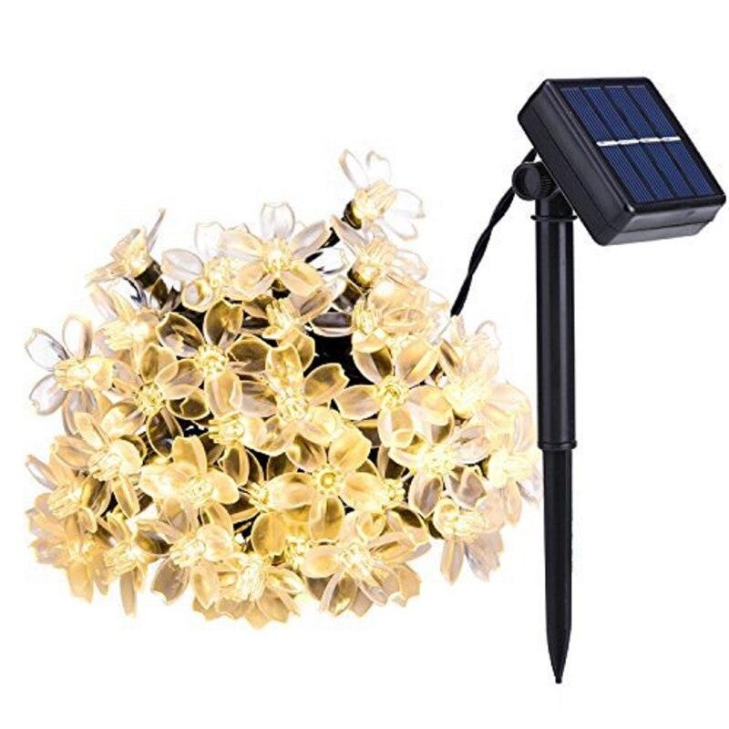 7 미터 50 led 태양 전원 요정 문자열 조명 꽃 꽃 램프 방수 야외 파티 웨딩 크리스마스-에서조명 문자열부터 등 & 조명 의 title=