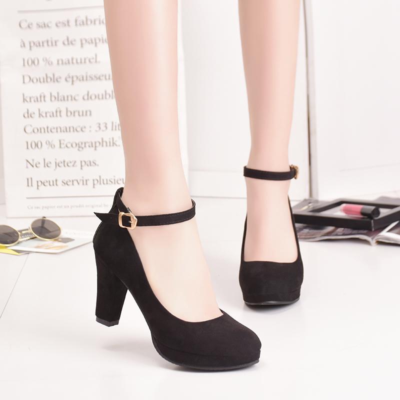 Ankle Strap High Heels Sweet Women's Pumps Flock Woman Thick Flock Platform Mary Jane Women Party Shoes Buckle Ladies Footwear