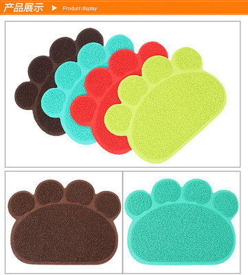 Pet Placemat Anti-slip Footprints Gato Negro Sha Dian Cat Mat Cat Door Mat Litter Box Pad PVC Cat Toilet Coaster