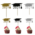 10 шт., 2021 год, докторская шляпа, топперы для торта, сделай сам, украшение для выпускного торта, кексов, украшение для торта