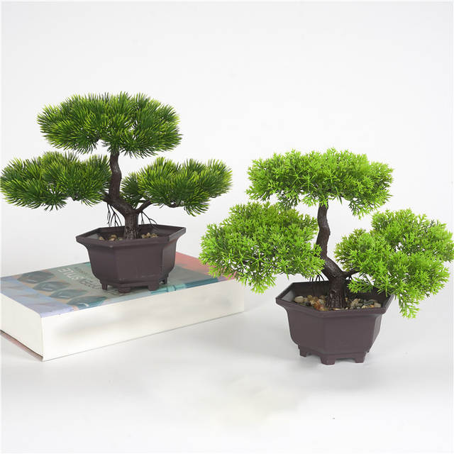 Pot Plants Pine Bonsai Small Fake Tree