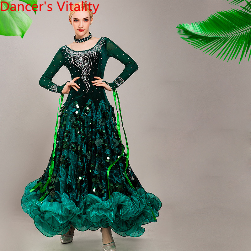 New Modern Dance Wear Racing Costume Diamond Sequin Fishbone Dress Ballroom National Standard Waltz Jazz Dancing Stage Outfits