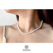 Elegant Silver 925 Jewelry Classic Temperament Wedding Necklace 5mm Shell Pearl Cream 925 Sterling Silver Chain for Women elegant quality silver 925 jewelry classic temperament wedding necklace 8mm pearl cream s925 sterling silver chain for women